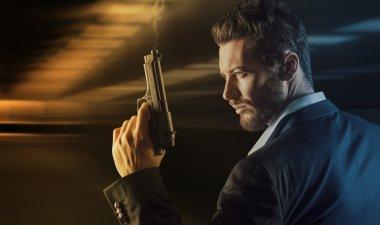 Brave man  holding gun