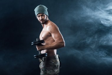 Cool attractive man  working out