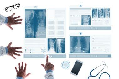 Medical team examining records