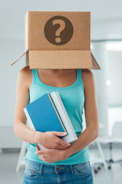 student with a box on her head