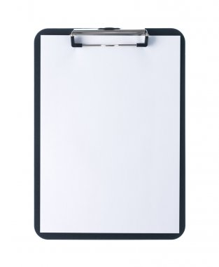 Black clipboard with blank white sheet attached on white background stock vector