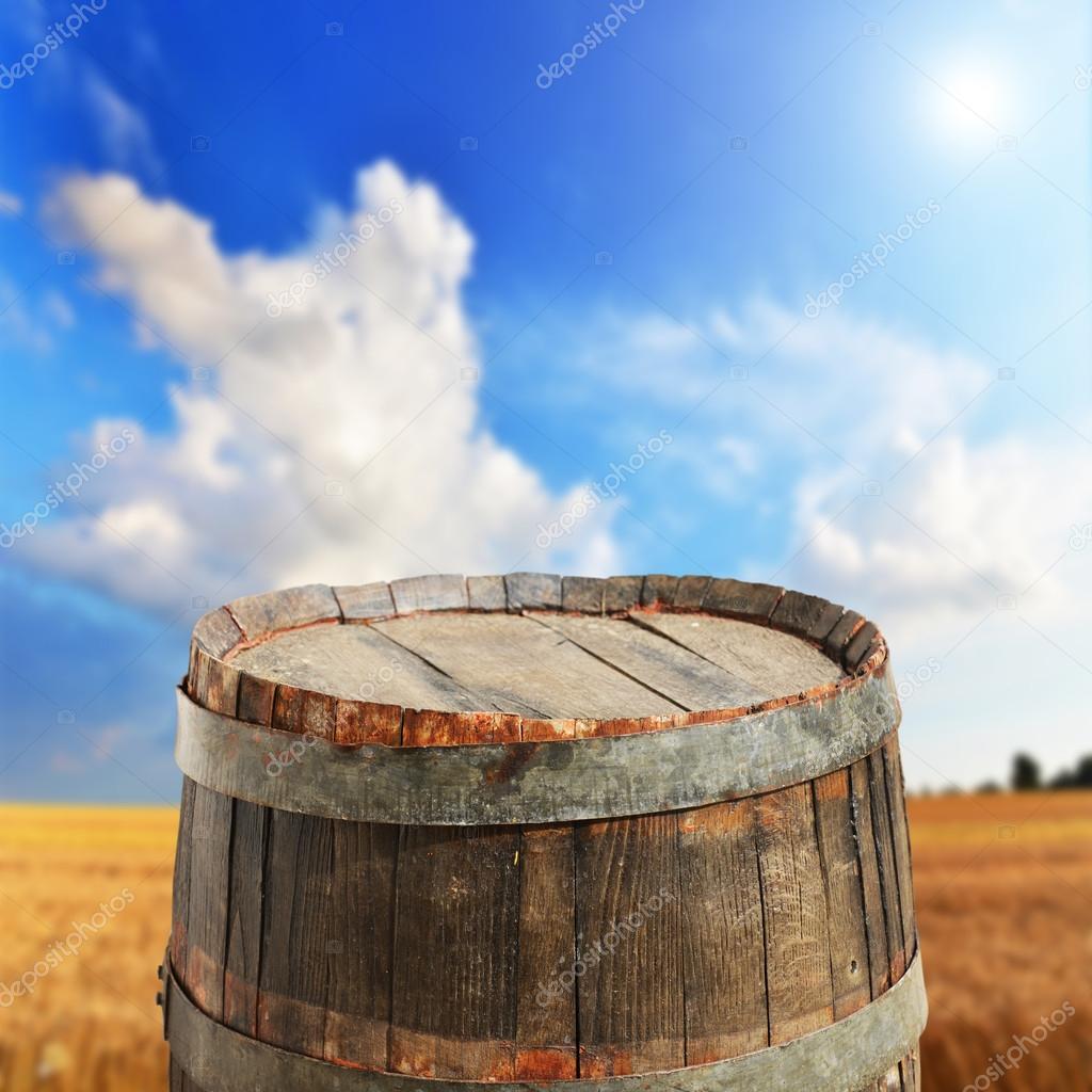 Empty barrel in the field