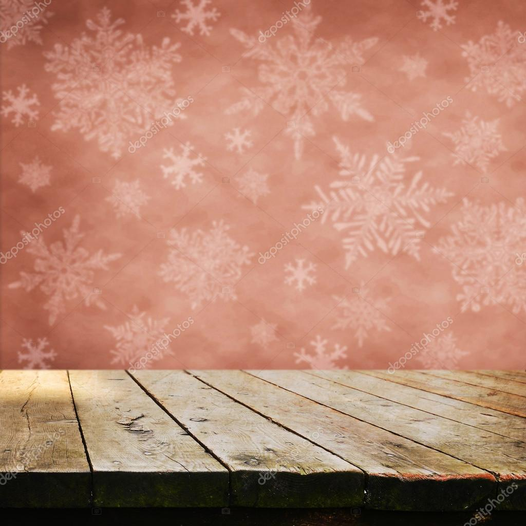 Leere Tabelle mit Schneeflocken — Stockfoto © kwasny222 #63255573