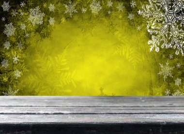 Empty  table with yellow christmas background