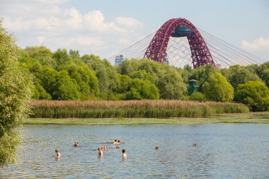 People swimming in Moskva river