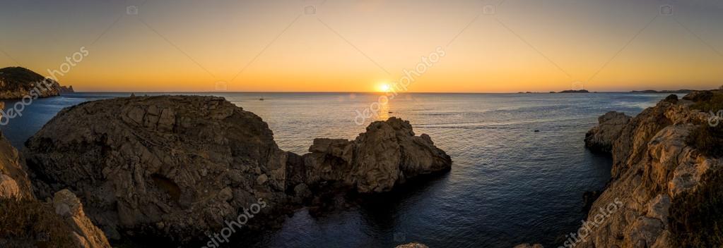 Mediterranean sunset panorama. Ibiza island