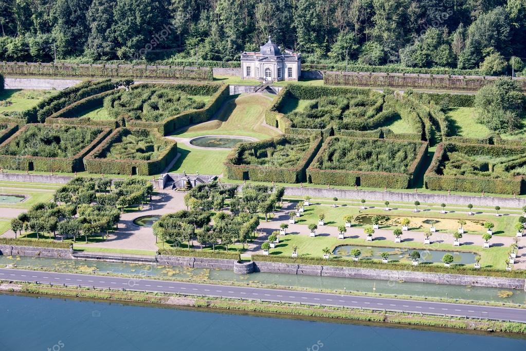 Aerial view gardens chateau Freyr along river meuse near Dinant in ...