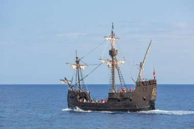 Tourists making a cruise with a replica of vessel
