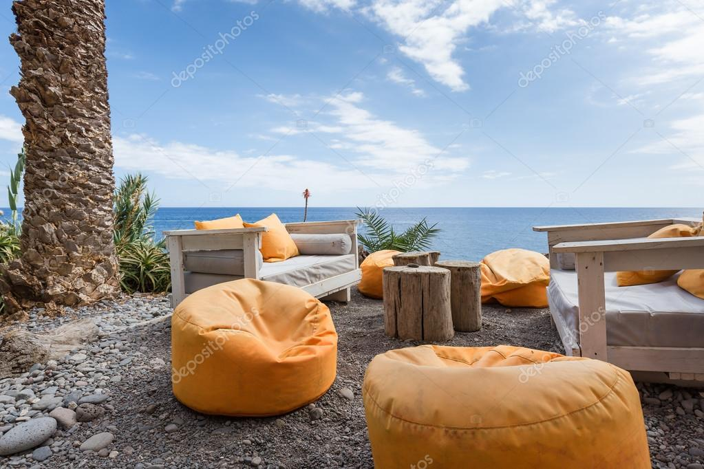 Vacation resort with comfortable seats near the sea at Madeira Island