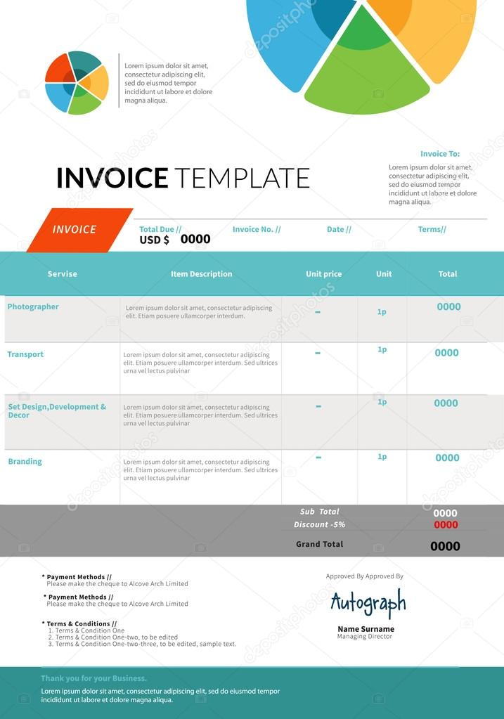 invoice template design stock vector a timea 85259612