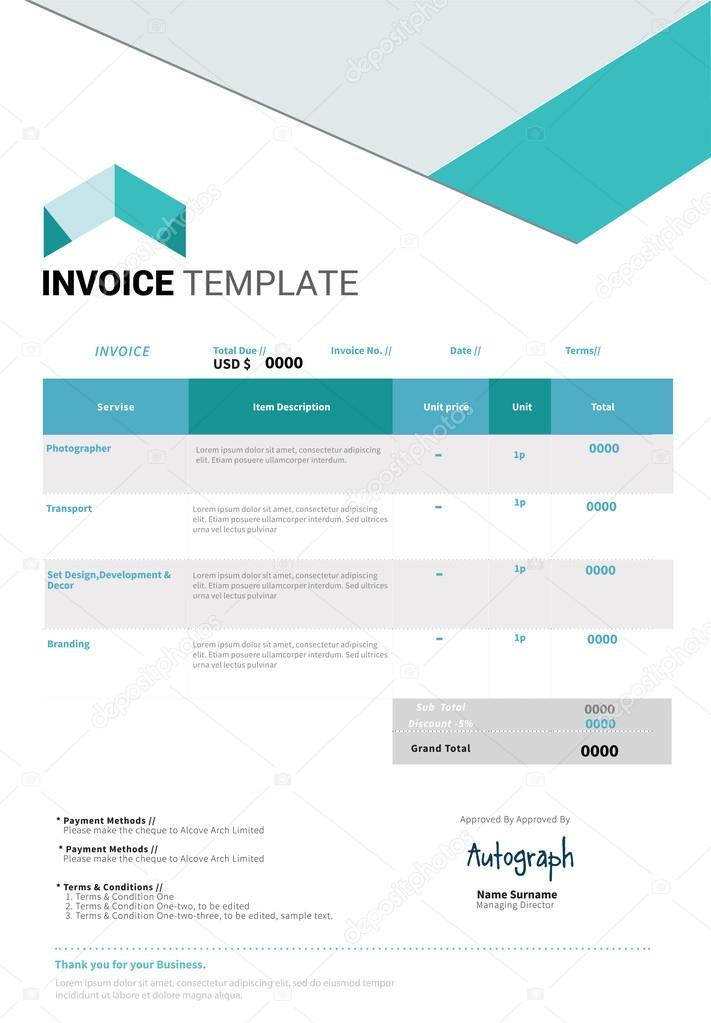 invoice template design stock vector a timea 96614262