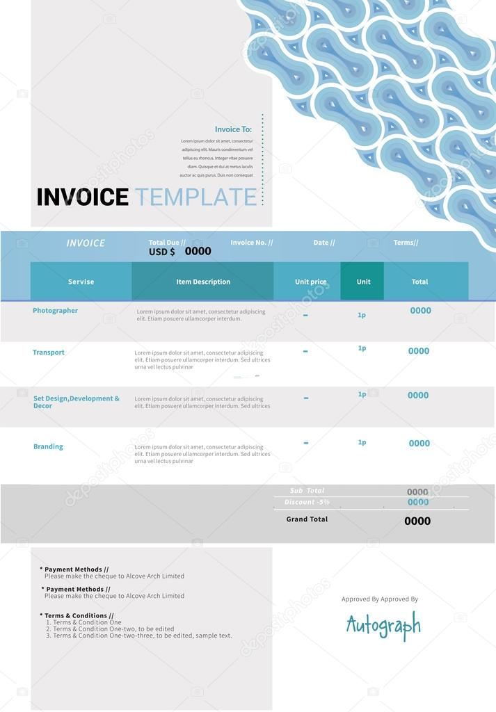 Invoice template design — Stock Vector © timea #96614304