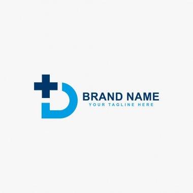 Letter D and cross logo design vector. Monogram D logo symbol. icon