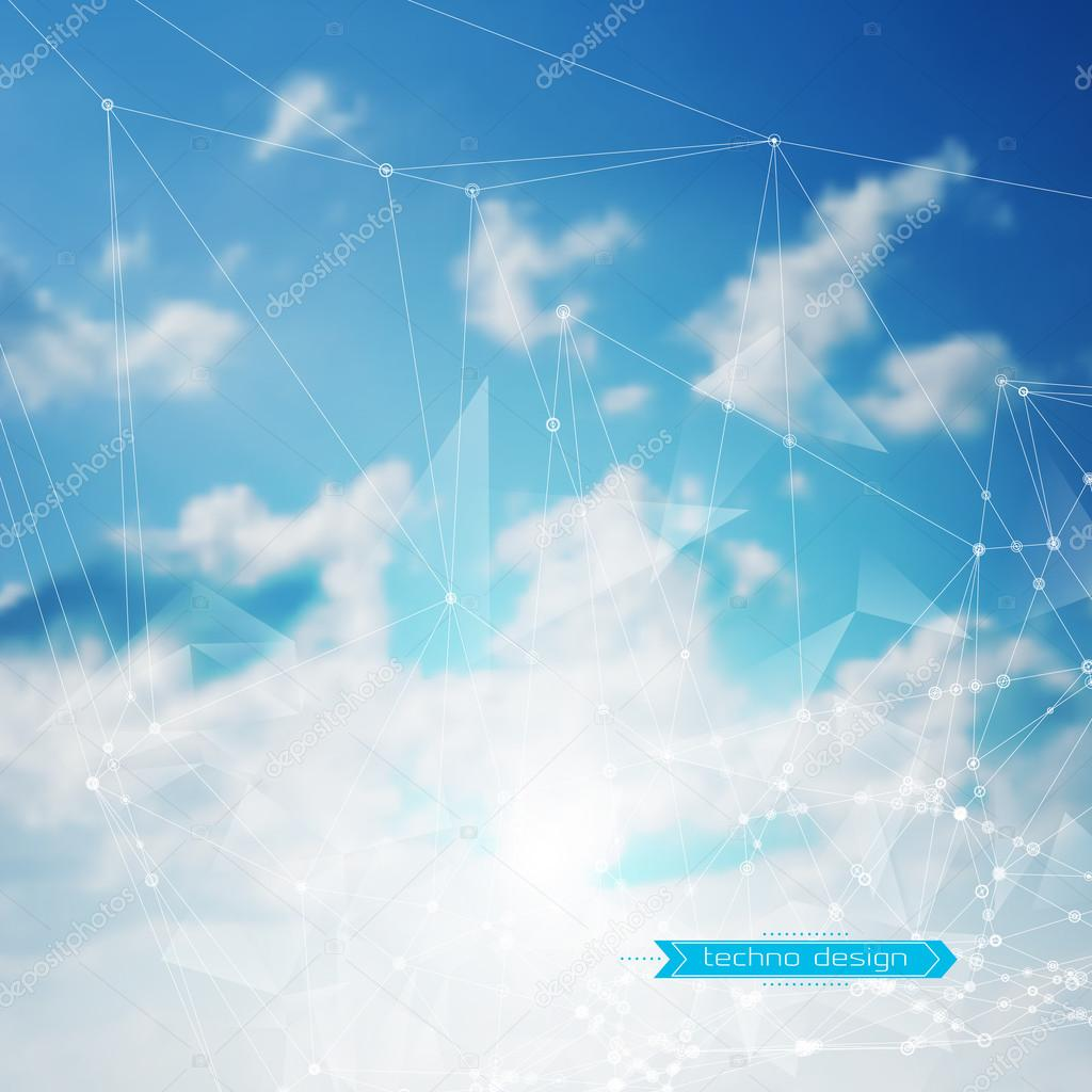 Abstract Geometric Polygonal Shape. Vector Science Background. Futuristic Technology Background. Connecting Dots and Lines Structure. Clouds Heavens Background