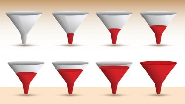 Timeline series of a funnel emptying