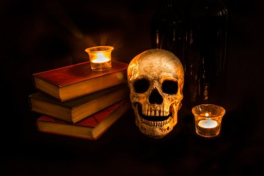 Vintage Skull and Novels by Candlelight
