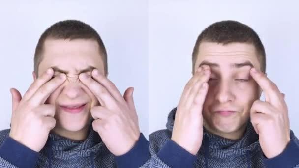 Předtím a potom. Nalevo muž ukazuje na bolest očí a napravo ukazuje, že oči už nebolí. Koncepce lékařské pomoci při léčbě zánětu spojivek a únavy očí