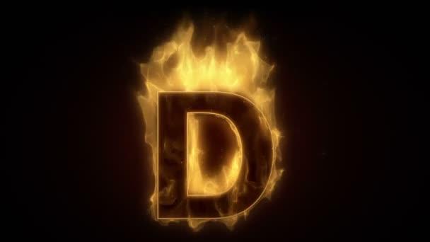 Fiery letter D burning