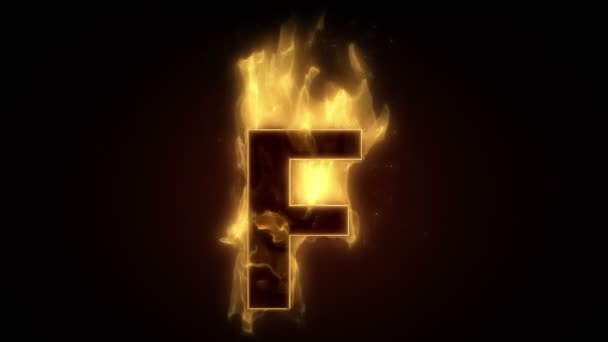 Fiery letter F burning