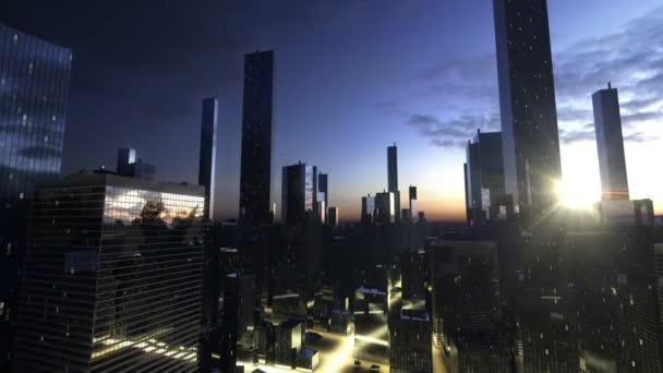 západ slunce v městě