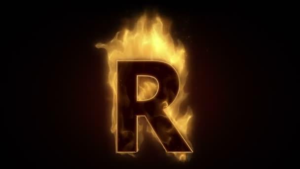 Fiery letter r burning