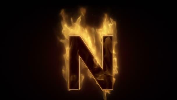 Fiery letter n burning