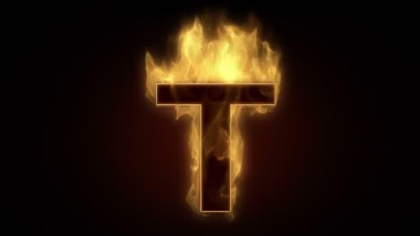 Fiery letter t burning