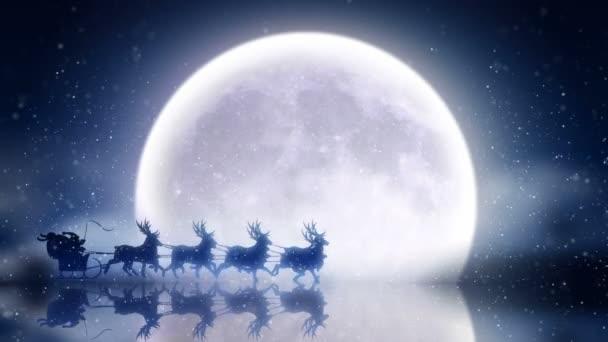 Santa mit Rentiere fliegen über Mond
