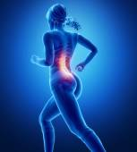 Running woman with spine anatomy