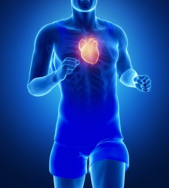 Jogging man focused on heart