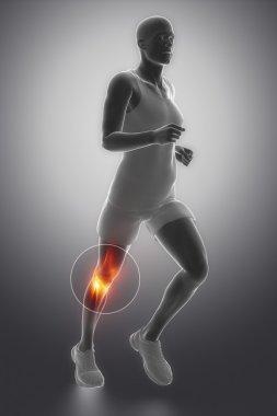 Running man  Focused on knee