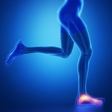 Running woman with leg scan