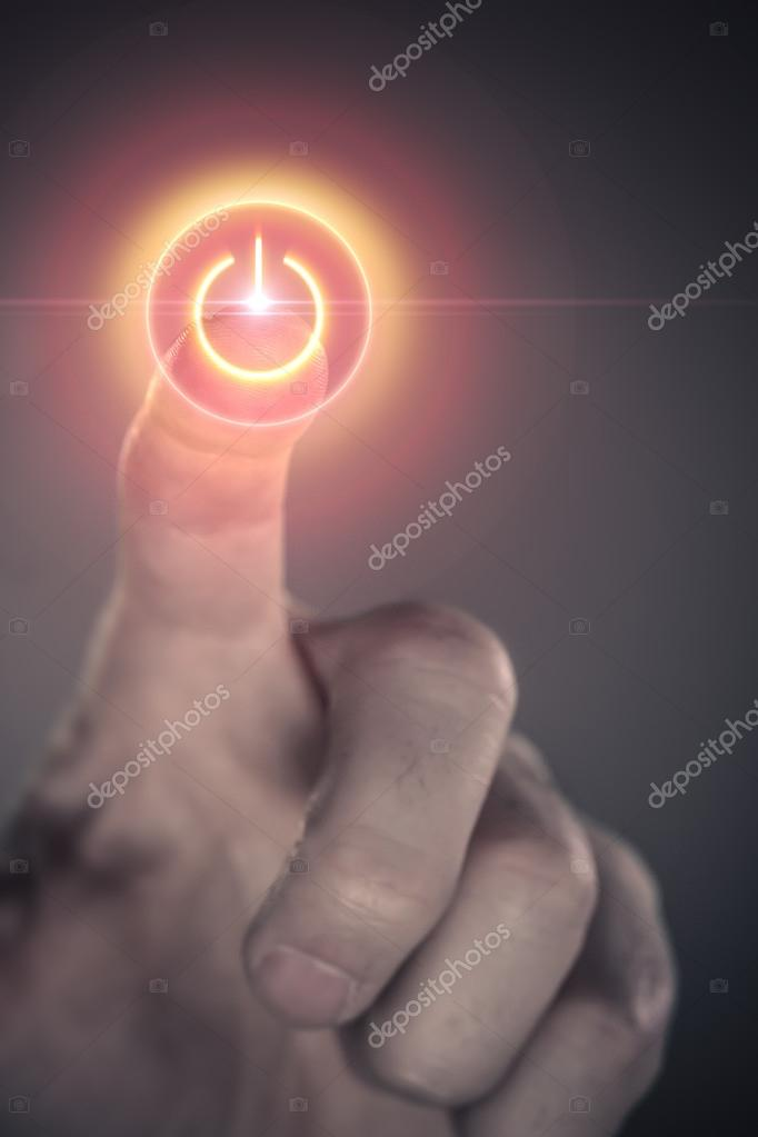 Male finger connecting to virtual power button — Stock Photo