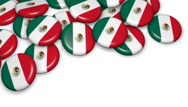 Mexico Flag On Buttons Badges