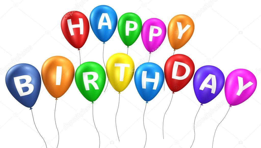 Gelukkige Verjaardag Kleurrijke Ballonnen Stockfoto