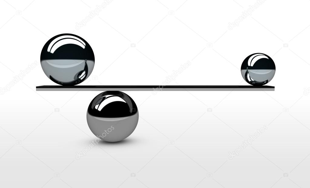 Trouver Et Réaliser Lu0027illustration 3d De Concept équilibre Parfait Avec  Lu0027équilibrage Entre Les Deux Sphères Métalliques Avec La Taille Différente  U2014 Image ...