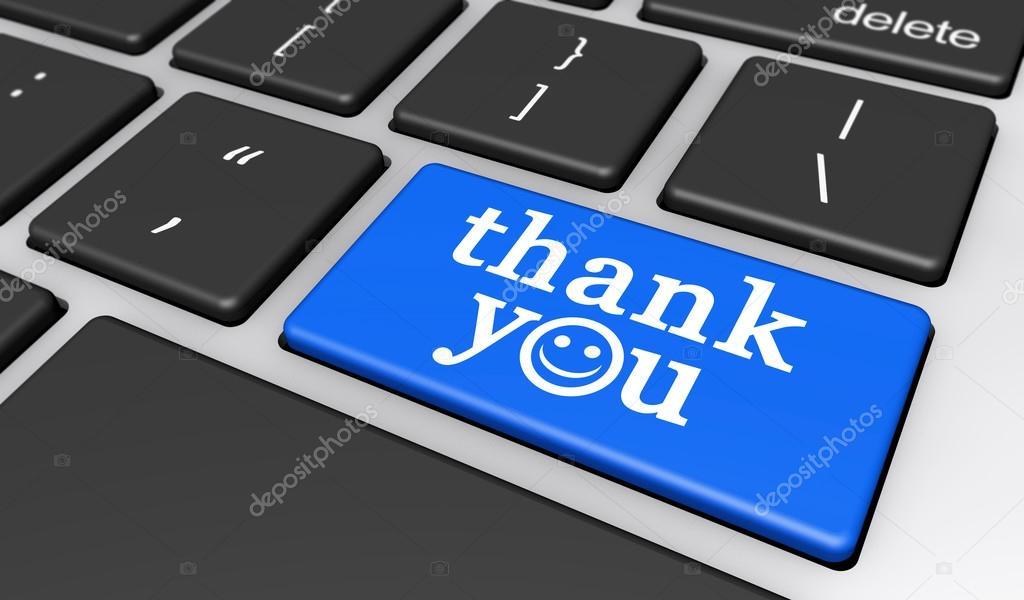 Thank You Happy Computer Key Stock Photo Nirodesign 112227314