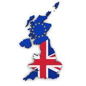 Brexit koncepció Egyesült Királyság Eu-zászló Térkép Egyesült Királyság