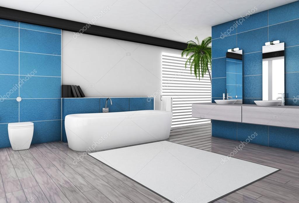 Salle de bains moderne intérieur aigue-marine — Photographie ...