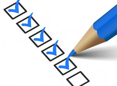 Checklist With Blue Checkmark Icon