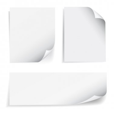 Set of blank sheet of paper with page curl and shadow effect, design element for advertising and promotional message isolated on white background. EPS 10 vector illustration. stock vector