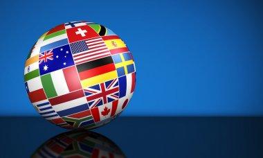 International Business Globe World Flags