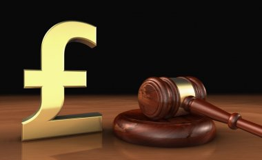 UK Pound Sterling And Law Symbol Cost Of Justice Concept