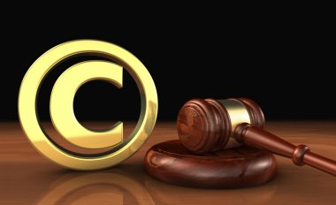 Copyright Icon And Gavel Law Symbol