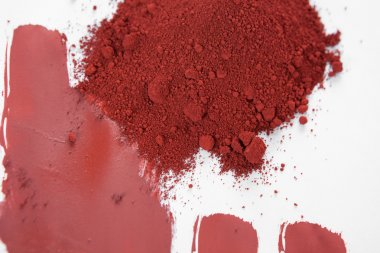 Red ochre, also spelled ocher, a natural red earth pigment based on hydrated iron oxide. stock vector