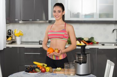 young fit woman with fruits