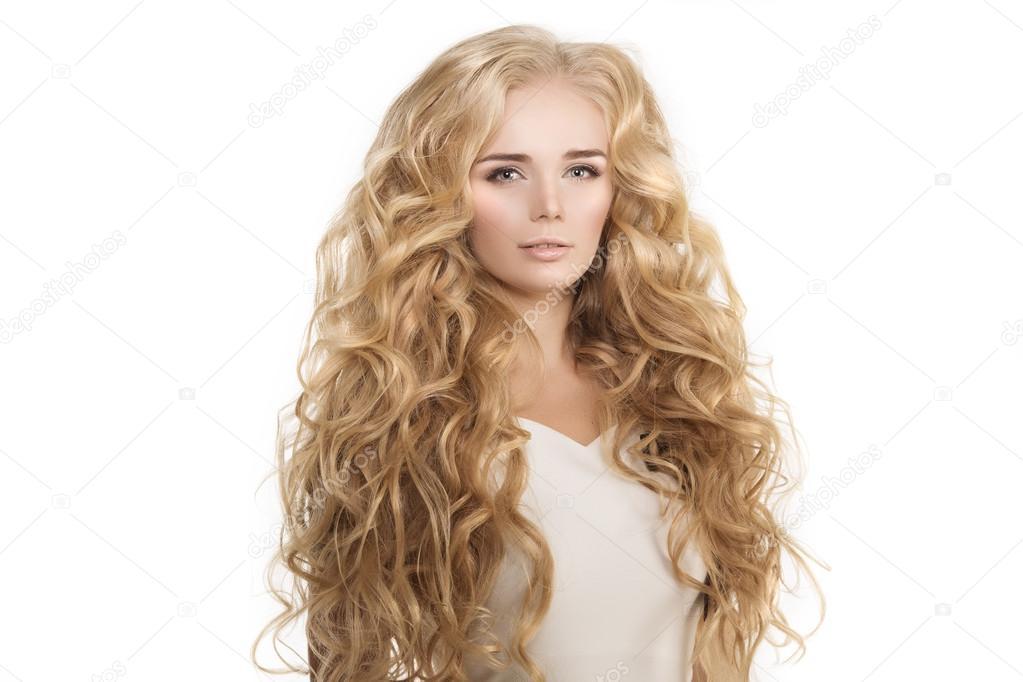 Modell Mit Langen Haaren Blonde Wellen Locken Frisur Haar Salon Upd