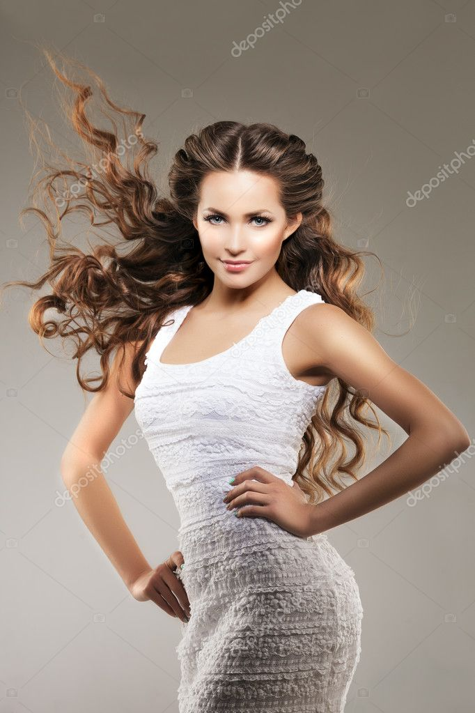 Model With Long Hair Waves Curls Hairstyle Hair Salon Updo F