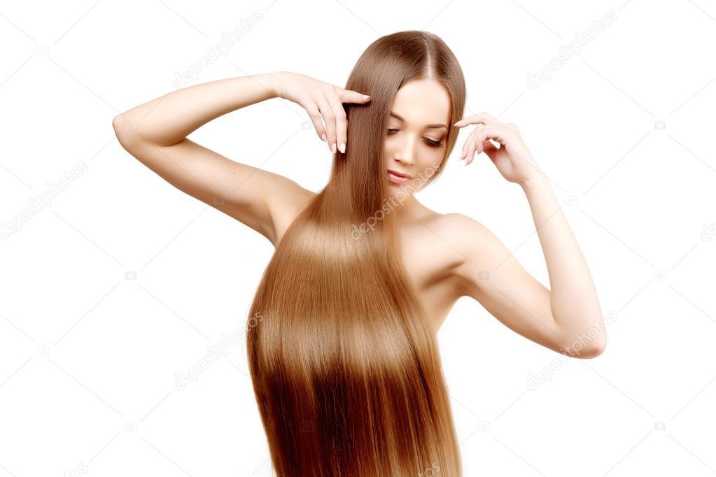 Langes Haar Frisur Friseursalon Fotomodell Mit Glänzendes Haar