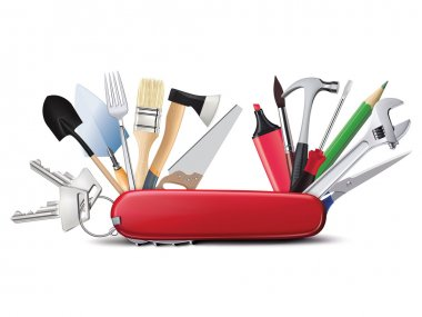 Swiss universal knife with tools. All in one. Creative illustrat
